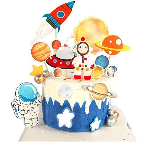 Tortendeko Geburtstag,Astronaut Cake Toppers,3D Astronaut Tortendeko Geburtstag Kuchen Topper,für Kinder Weltraum Themenparty Birthday