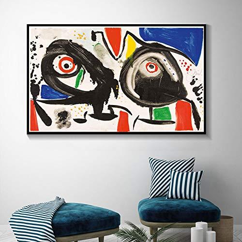 GEGEBIANHAOKAN Lienzo De Arte Joan Miro Pinturas De Surrealismo Moderno Cuadro Abstracto PóSter De Arte Retro E Impresiones HabitacióN De Pared DecoracióN para El Hogar-70x100cm Sin Marco