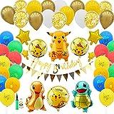 Globos De Pokemon, 91 Globos De Dibujos Animados Pikachu, Globos De Fiesta De Papel De Aluminio, Artículos Decorativos Adecuados Para Diversas Ocasiones Como Fiestas De Cumpleaños