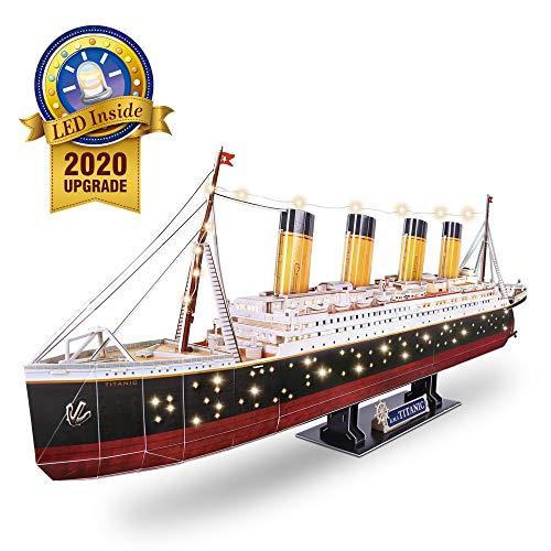 CubicFun 3D Puzzle Berühmtes Schiff Modell und Segeln Kit Spielzeugspiel Geschenk für Kinder und Erwachsene (Titanic(LED))