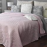 HOMELEVEL copriletto e copridivano copriletto trapuntato coperta da soggiorno coperta XXL (200 cm x 220 cm, fantasia rosa/grigio) Produktname
