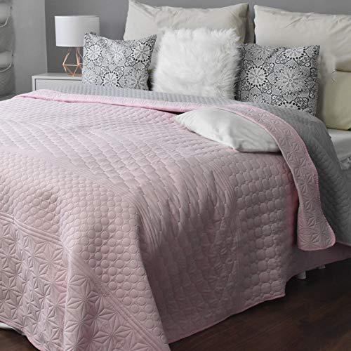 JEMIDI Tagesdecke 200cm x 220cm Bettüberwurf Bettüberwurf Sofaüberwurf Bett Decke gesteppt Tages Tagesdecken Betthusse Altrose/Grau