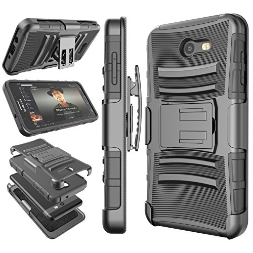 Tekcoo for Galaxy J7 Sky Pro/J7 Prime Case, for Galaxy Halo/J7 Perx/J7 V Holster Clip, [Hoplite] Shock Absorbing [Black] Locking Belt Heavy Full Body Kickstand Carrying Cover for Samsung J7 2017