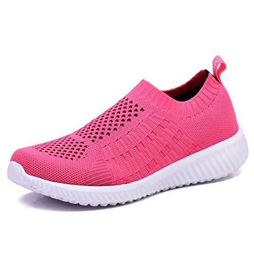 TIOSEBON Women's Athletic Walking Shoes Casual Mesh-Comfortable Work Sneakers 5 US Rosy