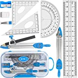Geometry Set, 10pcs Maths Set - Drawing Compass and Protractor Set with Pencil/Sharpener/Eraser/Rulers