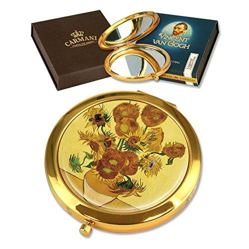 CARMANI - Plaqué Or Bronze Poche, Compact, Voyage, Miroir décoré avec de la Peinture de Van Gogh 'Tournesols'