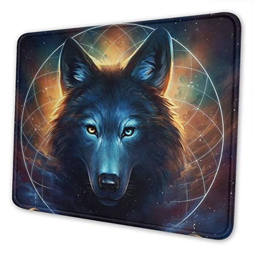 Fantasy Wolf Moon Galaxy Gaming Mouse Pad with Stitched Edges, Customized Rectangle Mousepad Non-Slip Rubber Base for Computer Laptop Office Accessories 9.5 x 7.9 Inch