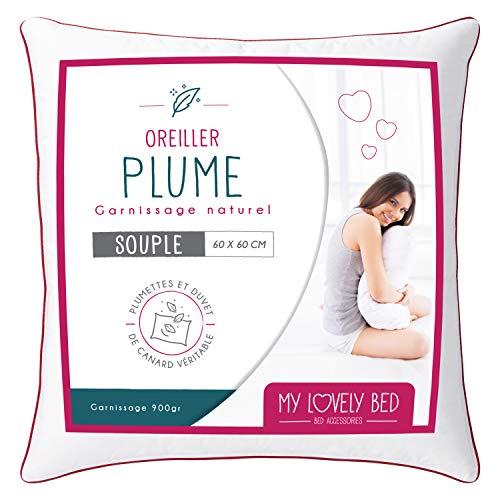 My Lovely Bed - Natürliches Kopfkissen 60x60cm - Füllung Federn und Daunen - Bezug 100% Baumwolle - Füllig und weich - Hohe Qualität - Ultra Komfort - Rechteckig