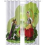 cortinas de la ventana, Príncipe Poniendo Zapato de Vidrio en Su Novia Fantasía Cuento de Hadas Romance Ilustración, W52 x L63 Blackout Window Drape para el dormitorio, Multicolor