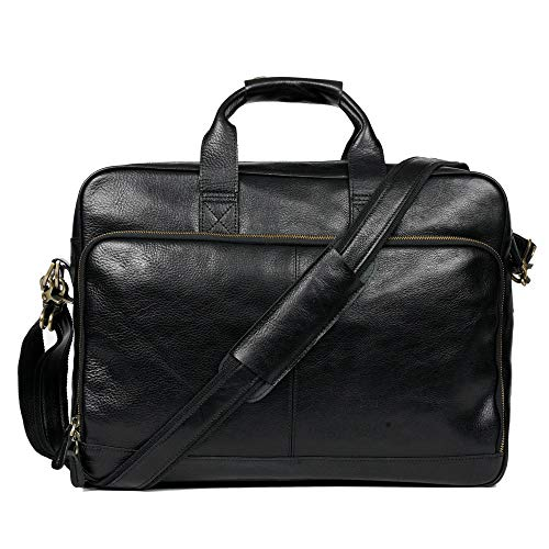 Genuine Leather Briefcase Messenger Bag Sturdy Durable(Double Metal connection,Multiple Suture) Fits 15.6''Laptop No Fading (Dark)