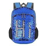 Bekahizar 20L Reversible Pailletten Backpack Bling Meerjungfrau Sequin Rucksack Leicht Faltbare Reise Tagesrucksack Tasche Packbar für Mädchen und Frauen Wandern Camping Radfahren (blau Silber)