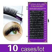 10ケースのFaux Mink Eyeelashエクステンション (Curl : J, Length : 10mmx10 trays)