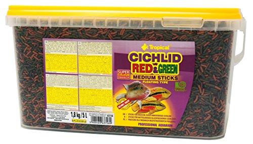 Tropical Cichlid Red&Green Medium Sticks - Futtersticks für mittelgroße Cichliden, mit Astaxanthin & Spirulina, 1er Pack (1 x 5 l)