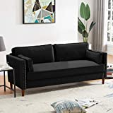 """3 Seat Sofa for Living Room Furniture with 2 Pillows Velvet Sleeper with Rivet Modern Design High Stretch Settee Couch Soft Fabric Upholstery 73.2"""" L + 32.7"""" W + 31.1"""" H (Sofa, Black)"""