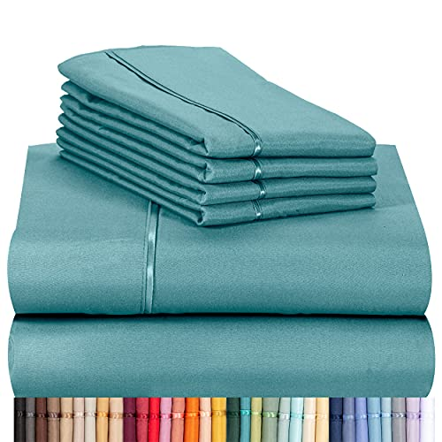 """LuxClub 6 PC Sheet Set Bamboo Sheets Deep Pockets 18"""" Eco Friendly Wrinkle Free Sheets Machine Washable Hotel Bedding Silky Soft - Teal King"""