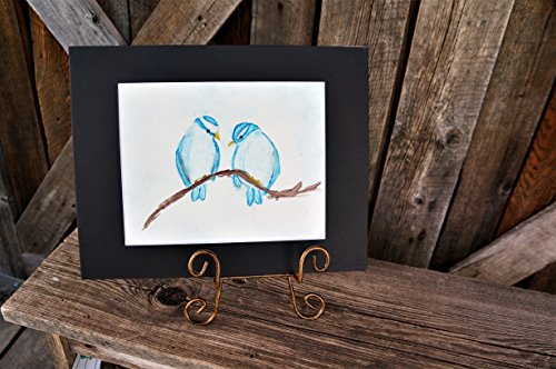 Original Hand Painted Watercolor Blue Lovebirds 8x10 Painting - Matted