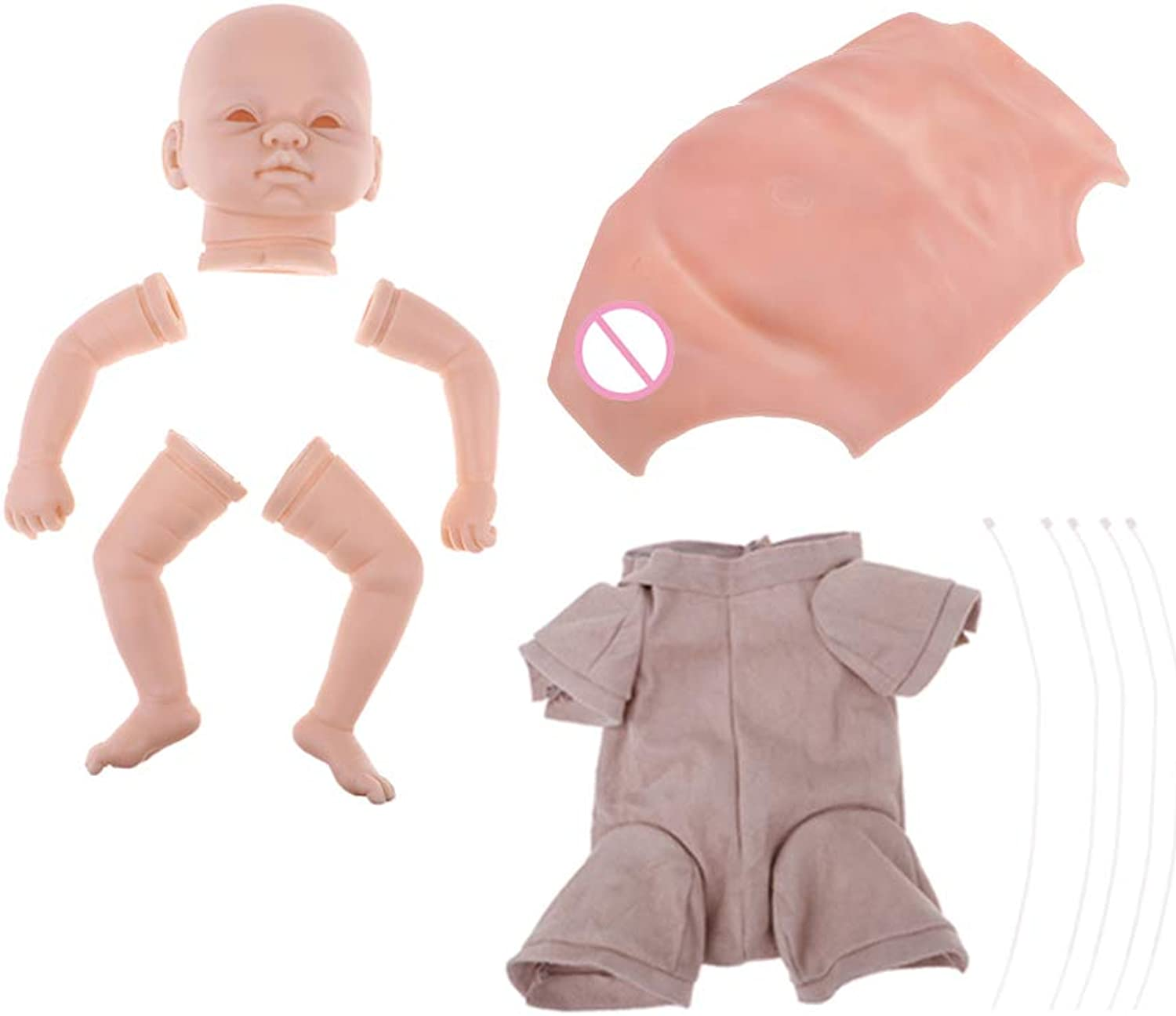 B Blesiya Unpainted Soft Vinyl Newborn Baby Doll Kit Set, Including Head, Legs, Arms, Cloth Body and Belly, Finished Size 22inch