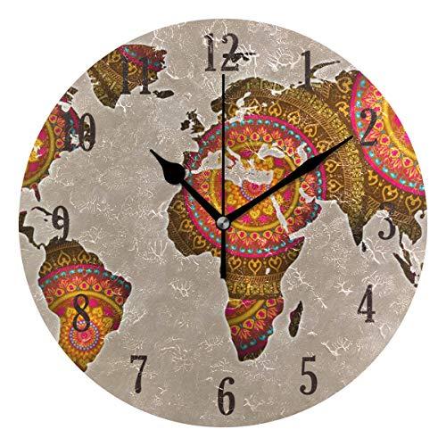 MNSRUU - Reloj de pared redondo con diseño de mandala del mapa del mundo, silencioso, no se hace ruido y funciona con un movimiento preciso para salón, dormitorio, oficina