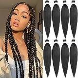 Leeven 8 Packs Pre Stretched Braiding Hair Extension Yaki Texture Hot Water Setting EZ Braids Kanekalon Hair for Coi Leray Braids Black Braiding Crochet Hair Extensions /20 Inch 1B#