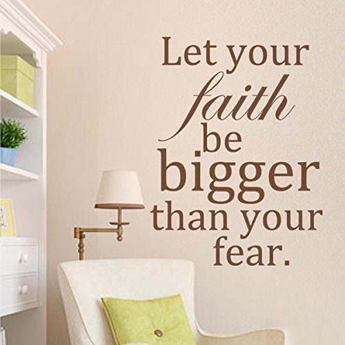 DigTour WallArt Let Your Faith Be Bigger Than Your Fear Vinyl Inspirational Wall Decal Motivational Wall Quote Wall Letters Words Graphic Room Art Decor Black