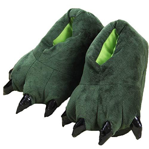 Haute qualité Cartoon Griffe Chaussons Paw Chaussures en Peluche Dinosaur Griffe Pantoufles Hiver Maison Unisexe Halloween Animal Costume (M: pour la Longueur de Pied 20-24cm, Green)