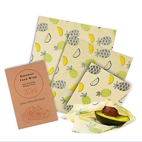 ZOOYAUE 3 Stück Wachstücher Wachspapier aus natürlichem Bienenwachs und Baumwolle, Beeswax Wrap für Lebensmittelkonservierung, Wiederverwendbares, Waschbare(1x Klein/1x Mittel/1x Groß)
