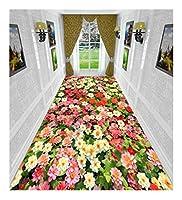 CnCnCn 3Dの美しいプリント柄の回廊カーペット廊下エントランスベッドルーム (Color : A, Size : 90x600cm)