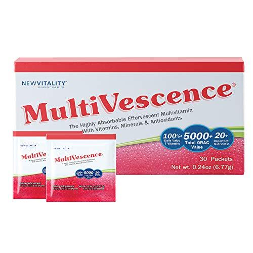 Multivescence Multivitamin Drink - Health & Immunity System Support Supplement - Vitamins, Minerals, Antioxidants, Nutrients – 1000mg Vitamin C Plus B12, D, Calcium, Zinc – Travel (30 Packets)