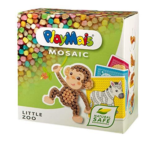PlayMais Mosaic Little Zoo Kreativ-Set zum Basteln für Kinder ab 3 Jahren | Über 2.300 6 Mosaik Klebebilder mit Zootieren | Fördert Kreativität & Feinmotorik | Natürliches Spielzeug