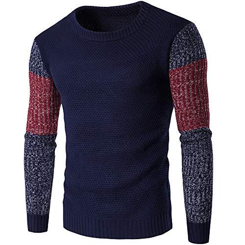 JinFZ Strickwaren Herren Spleißen Rundhals Slim Fit Sweatshirt Business Lassig Bankett All-Match Strickwaren Komfortabel Sanft Atmungsaktiv Strickwaren ☆B-Navy XL