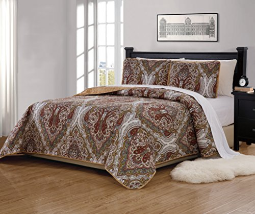 Fancy Collection 2 Pc Twin/Twin Extra Long Quilted Bedspread Floral Print Brown White Green Taupe Reversible Over Size New