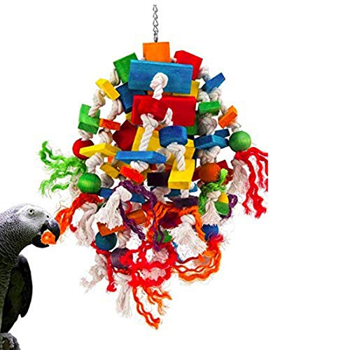 MQ Parrot Toy Bird Toy for Large and Medium Parrots and Birds, Wooden Blocks Tearing Toys with Wood Beads and Bells, Beak Trimming Toy for African Grey Cockatoos and Amazon Parrots
