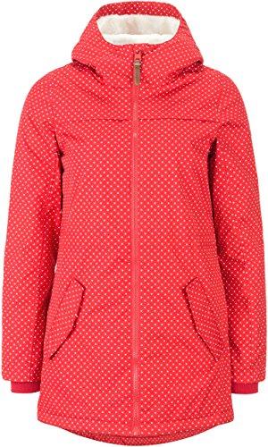 DESIRES Damen Jacke Ella, gefütterte Lange Winterjacke mit Kapuze Frauen Zipper Parka Reißverschluss, mit Punkten, Farbe: (Rot) high Risk (743), Größe: XS