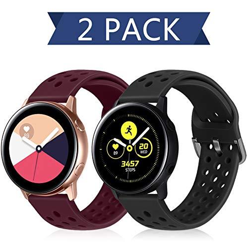 Runostrich 20mm Schnellverschluss-Silikonarmband, Gummi-Ersatzuhrenbänder Kompatibel mit Galaxy Watch 42mm Bändern / Active2 44mm 40mm, Pebble, Ticwatch, Männer Frauen (20mm, Schwarz+Dunkelrot)
