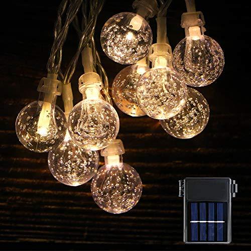 Koopower Cadena de 30 luces LED solares, 3 metros y funciona con pilas, impermeable, para interior y exterior, para jardín, Navidad, boda, fiesta, blanco cálido