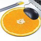 Lemon Slice Mouse Pad, Tropical Vegan Lemon Fruit Round Ergonomic Mouse Pad Non-Slip Rubber Material for Office Desk Gaming Home Space Decor - 220mm Diameter