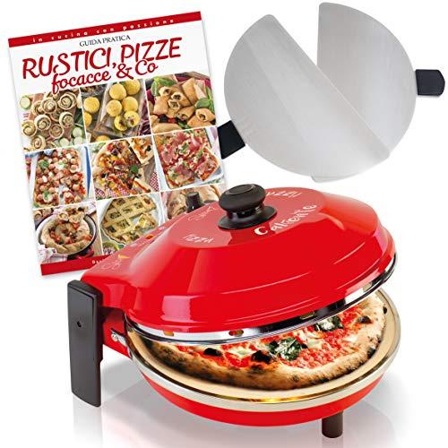 SPICE - Four à pizza calibrée avec pierre réfractaire 32 cm 400 degrés Résistance circulaire + 2 palettes, acier inoxydable + recettes rustiques dentelle