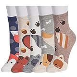 Calcetines casuales de dibujos animados lindos 5 pares - Novedad de algodón divertido Animal Crew Calcetines para mujeres y niñas