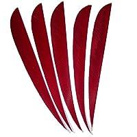 MILAEM 5インチ 矢羽 天然ターキー羽根 左翼 弓矢の道具 アーチェリーアクセサリー DIY 狩猟 40枚(赤い)