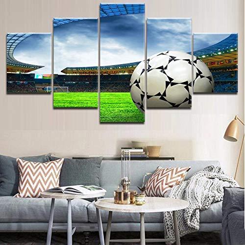 Estadio Moderno y fútbol 5 Piezas Impresión HD Lienzo Pintura Paisaje Cartel Arte de la Pared Decoración del hogar Vida para la habitación