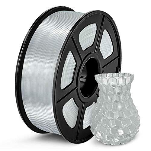 PLA Filament 1.75mm, 3D Printing PLA Filament for 3D Printer, 1kg Spool 3D Printing Material PETG, Dimensional Accuracy +/- 0.02 mm (Silver)