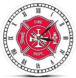 youmengying Co.,ltd Reloj De Pared Bombero Cruz De Malta Retro Reloj De Pared Primeros Auxilios Departamento De Bomberos Reloj De Decoración con Número Romano Regalo De Bombero 30X30Cm