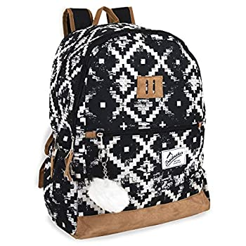 Trailmaker Modern Backpack with Padded Straps Suede Bottom Fashion PomPom for School College Travel  MULTI Black