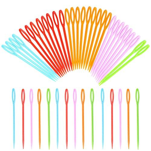 Wowot 30 Stück Nähnadeln aus Kunststoff, 9 cm Plastiknähnadel in bunten Farben für Bastel und Nähprojekte mit Kindern