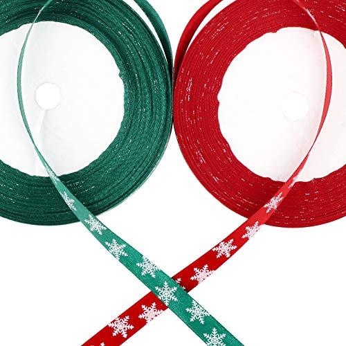 BHGT 50yardes 2 Rollos Cintas Navidad Embalaje Regalo Manualidades Lazos Decoración Cajas Flores Arbol Navidad Fiesta Adornos Navideños Roja Verde