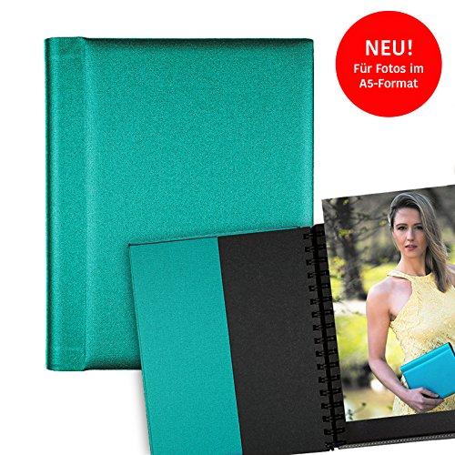 Modelmappe Fotomappe Modelbuch Modelbook A5 Türkisblau für 30 Fotos im A5-Format, Portfoliomappe Portfolio Mappe Fotografie, austauschbare Hüllen, Modelmappe Sedcard