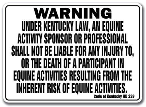 Kentucky Equine Sign Activity Liability Warning Statute Horse Farm barn Stable