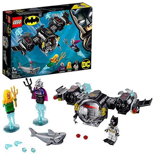 Este juguete de superhéroes incluye 3 minifiguras: Batman, Aquaman y el Amo del Océano; incluye también una figura de un tiburón El submarino de batman cuenta con cabina abatible para una minifigura con forma de burbuja, garras ajustables, alas girat...