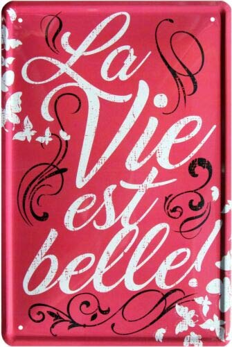 La Vie est Belle 20x30 cm metalen bord 1703