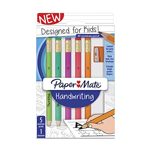 Paper Mate Handwriting Triangular Wood case Pencil Set with Sharpener, HB #2, Fun Barrel Colors, 6 Count (2017521)